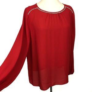 Liz Claiborne red semi sheer long sleeve top xl